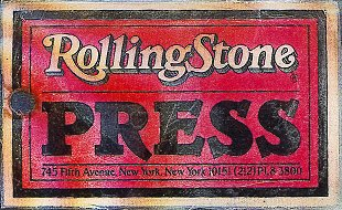 Neal Karlen's Rolling Stone press pass (Back)